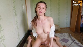 """""""Cum in my mouth!"""" beauty bounced on the big dick and swallowed cum"""