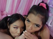 POV Hot Best Friends Give the Best Double Blowjob