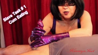Mistress slave task contest #1. Jerkoff and eat your own cum from a condom
