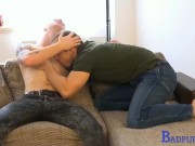 He slaps his ass-cheeks then begins fingering his tight, pink hole