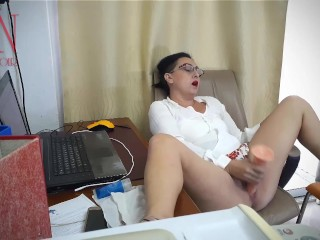 SEXRETARY Secretary gets fucked with a dildo Security camera in the office