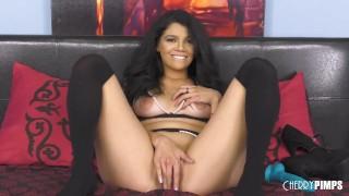 Big Tit Latina Harley Haze Strips Her Black Lingerie and Stockings Before Masturbation