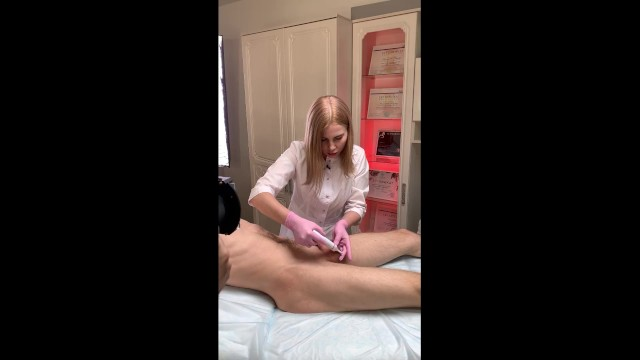 Guy cums while I shave his balls