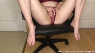 18yearold female student couldn't resist jerking off in a computer chair