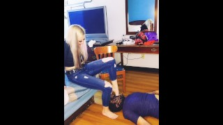 Foot Face Smother and Deep Foot Gagging Training with New Femdom Foot Slave