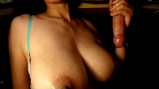 I milk 2 of the biggest cumshots ever onto my tits 2 loads in 2 min