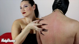 KinkyDomina Christine Amuses Herself by Scratching the Hell out of you