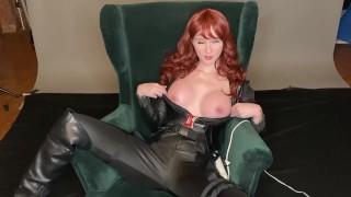 Black Widow Cums Hard for Avenger Big Fake Tits Cosplay