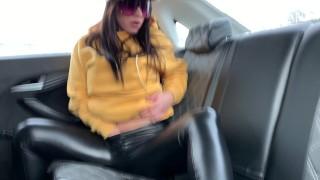 Pornstar Alysa masturbation on Car