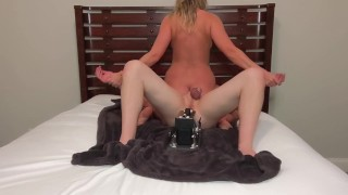 CUCK FUCKED BY SEX MACHINE WHILE HOTWIFE RIDES HIS FACE [DEGRADE CUCK]