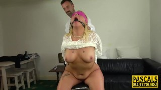 Blindfolded bound sub gets fingered and fucked