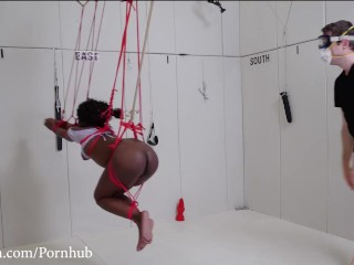 Beautiful black submissive gagged, tied up, ass whipped, and turned into an anal compass needle