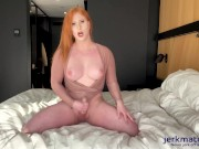 Evie Envy Strokes Her Big Cock And Gets Cum All Over Her Tits! Live On Jerkmate TV