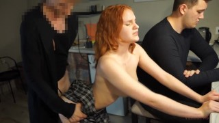 Redhead girl likes to cheat on her cuckold when he is busy with work
