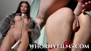 Submissive babe on a leash getting ass pounded and face fucked hard WHORNY FILMS