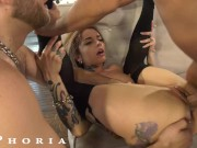 Wild Tattooed Babe Double Teamed By Hot Gay Couple In Bi Threesome - BiPhoria