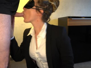 hot office clerk in stockings used for blowjob and frontal sex with cum shot in her face