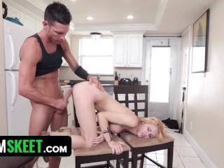 Pierced blonde student fucked hard with big cock
