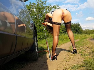 Driving can be deflated tire and ripped stocking # a Beer,BUTT PLUG and an ORGASM can fix them all