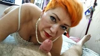My mature bitch sucks my dick and cums from a transparent dildo)) (Real married couples)