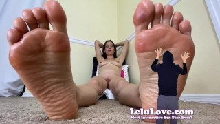 Naked giantess babe with HUGE feet shrinks you down to rub them with funny bloopers - Lelu Love