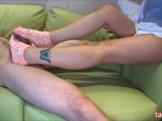 Pink socks job❤slap cock(side cam)☆ピンクのくつ下で足こき(サイドカメラ)