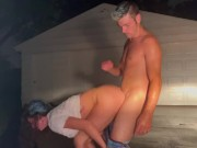 Sex Outside in the Rain During Thunderstorm- Creampie: Mav & Joey Lee