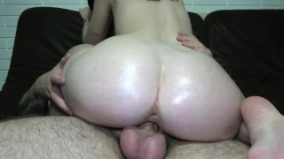 See how this juicy huge ass bounces on a big dick and how hot cum spits out of this pussy 4K 60FPS