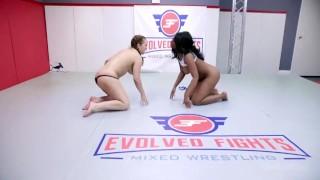 Lesbian Sex Fight As Carmen Valentina Wrestles Mocha Menage Then Strapon Fucks Her