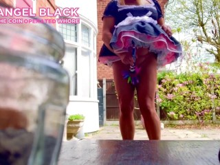 Sissy in its spiked chastity cage put in garden to goon neighbour humiliation