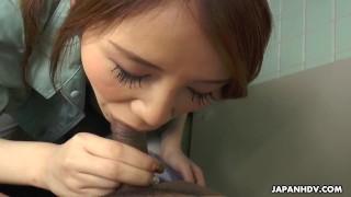 Japanese cleaner, Maki Koizumi sucks dick, uncensored