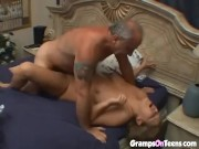 Busty Blonde Babe Plays With An Old Dick And Gets Fucked