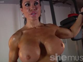 Lovely female bodybuilder porn star with hug tits