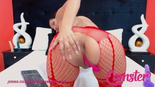 CAMSTER Jenna Silverstone Asian Hottie in Red Stockings Slides Two Toys in Her Creamy Pussy