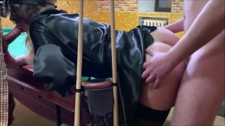 My husband and his friend teach me to play Russian billiards