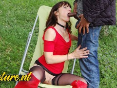Slutty French Wife Waiting For Her Black Neighbor To Fuck Her Outside