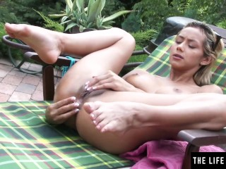 Sexy blonde Latina masturbates with a plug in her tight asshole