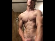 Young stud let's out a big morning cumshot