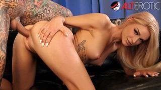 Skinny blonde Emma Hix fucks her tattooed neighbor