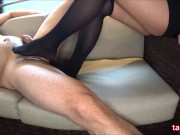 Foot job with knee high socks(side cam)♡ニーハイソックスで足コキ(サイドカメラ�