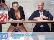 Camsoda News Network anchors rides sybian and gives amazing blowjob