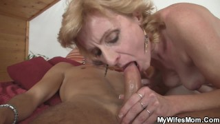 Blonde girlfriends hot mom rides his horny dick