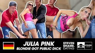 GERMAN MILF JULIA PINK TWO CUMSHOTS IN PUBLIC TWO FUCKERS share a blonde MILF! StevenShameDating