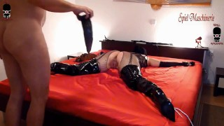 Monster dildo for spreadeagle bondaged slut in Pleaser thigh knee high fetish boots