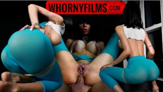 Fit big tits slut in yoga pants covered in oil gets her ass fucked hard by a big cock WHORNY FILMS