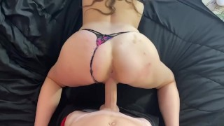 Throwing that ass back on huge hard cock