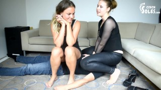 Two goddesses trampling foot and face sitting slave foot domination femdom facesitting feet