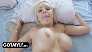 Blonde MILF With Big Tits Gets Tricked With Vibrating Egg In Her Panties While She Is In The Shower