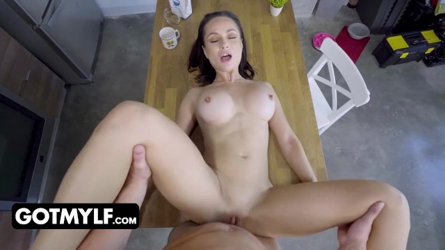 Perfect Milf With Huge Tits Strips Down And Gets Pounded On The Kitchen Floor By Her Stepson