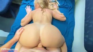 Busty Blonde Slut Fucked on a Public Train Molly Pills POV 4K
